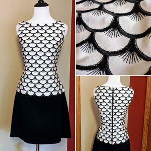 Vtg Joyce Marie Paris black and white dress